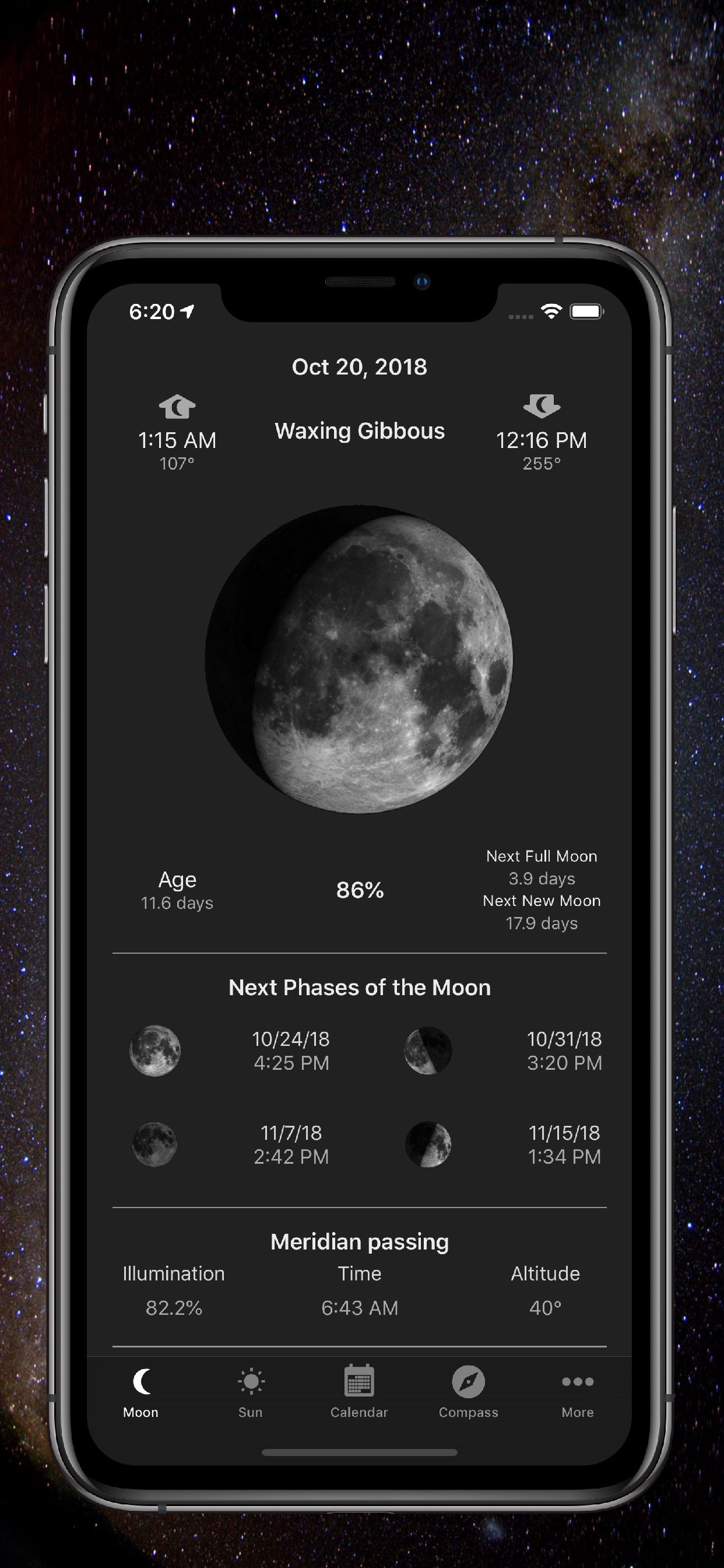 Moon Phase Calendar & Compass fos iOS